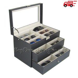 Hộp Đựng 18 Kính Mát Vỏ Da Carbon Mã 930 - TrungBox - Hình 1
