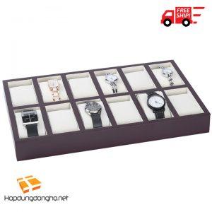 Khay Đựng Đồng Hồ 12 Ngăn Bằng Gỗ Mã 312 - Khay đựng đồng hồ bằng gỗ - Hình 1