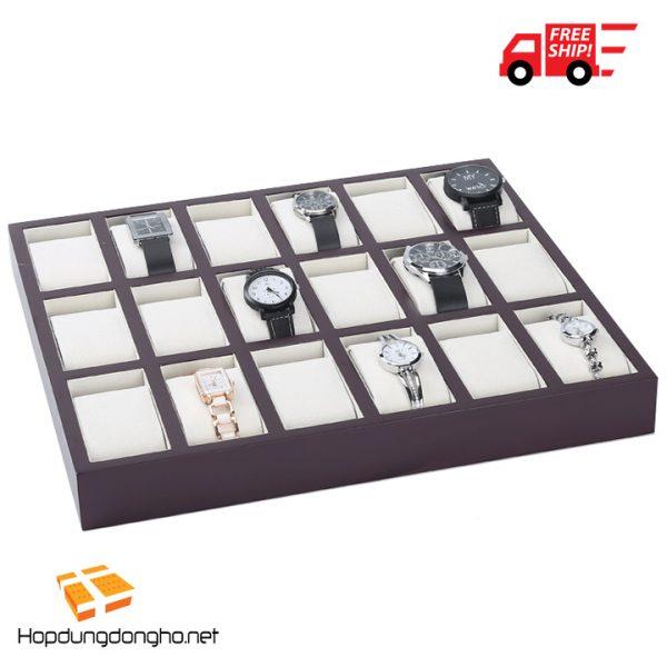 Khay Đựng Đồng Hồ 18 Ngăn Bằng Gỗ Mã 318 - Khay đựng đồng hồ bằng gỗ - Hình 1