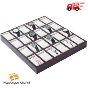Khay Đựng Đồng Hồ 24 Ngăn Bằng Gỗ Mã 324 - Khay đựng đồng hồ bằng gỗ - Hình 1