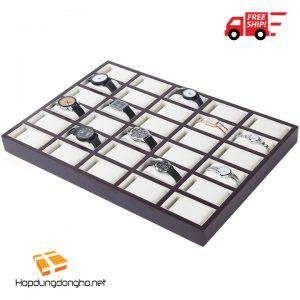 Khay Đựng Đồng Hồ 30 Ngăn Bằng Gỗ Mã 330 - Khay đựng đồng hồ bằng gỗ  - Hình 1