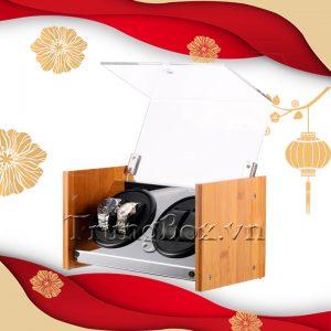 Hộp Đựng Đồng Hồ Cơ 4 Xoay Vỏ Gỗ Tre - Mã 840BAB | TrungBox - Hình 1