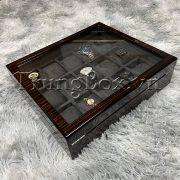 Hộp Đựng Đồng Hồ 15 Ngăn Vỏ Gỗ Sơn Mài Vân Gỗ Đàn Hương Đen - Mã 515EGR   TrungBox - Hình 7