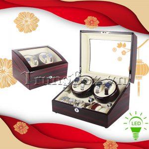 Hộp Đựng Đồng Hồ Cơ 4 Xoay 6 Tĩnh Vỏ Gỗ Sơn Mài (Đèn LED) - Mã 846KEW | TrungBox - Hình 1