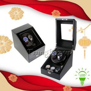 Hộp Lắc Đồng Hồ 2 Cơ 3 Trưng Bày Vỏ Gỗ Sơn Mài (Đèn LED) - Mã 823BB | TrungBox - Hình 1
