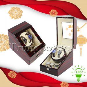 Hộp Lắc Đồng Hồ 2 Cơ 3 Trưng Bày Vỏ Gỗ Sơn Mài (Đèn LED) - Mã 823EW | TrungBox - Hình 1