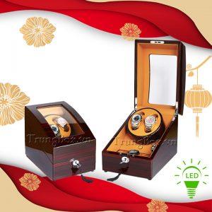 Hộp Lắc Đồng Hồ 2 Cơ 3 Trưng Bày Vỏ Gỗ Sơn Mài (Đèn LED) - Mã 823EC | TrungBox - Hình 1