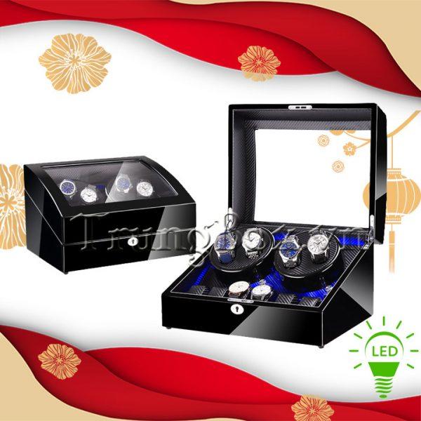 Hộp Đựng Đồng Hồ Cơ 4 Xoay 6 Tĩnh Vỏ Gỗ Sơn Mài (Đèn LED) - Mã 846KBT   TrungBox - Hình 1