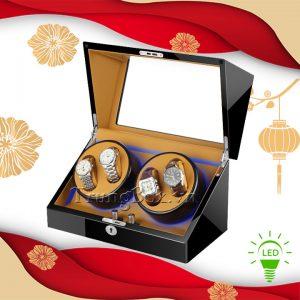Hộp Xoay Đồng Hồ 4 Cơ Vỏ Gỗ Sơn Mài (Đèn LED) - Mã 840KBC | TrungBox - Hình 1
