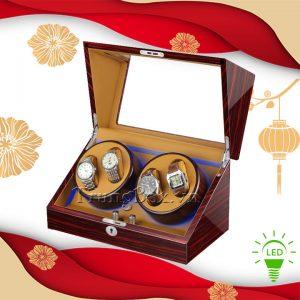 Hộp Xoay Đồng Hồ 4 Cơ Vỏ Gỗ Sơn Mài (Đèn LED) - Mã 840KEC | TrungBox - Hình 1
